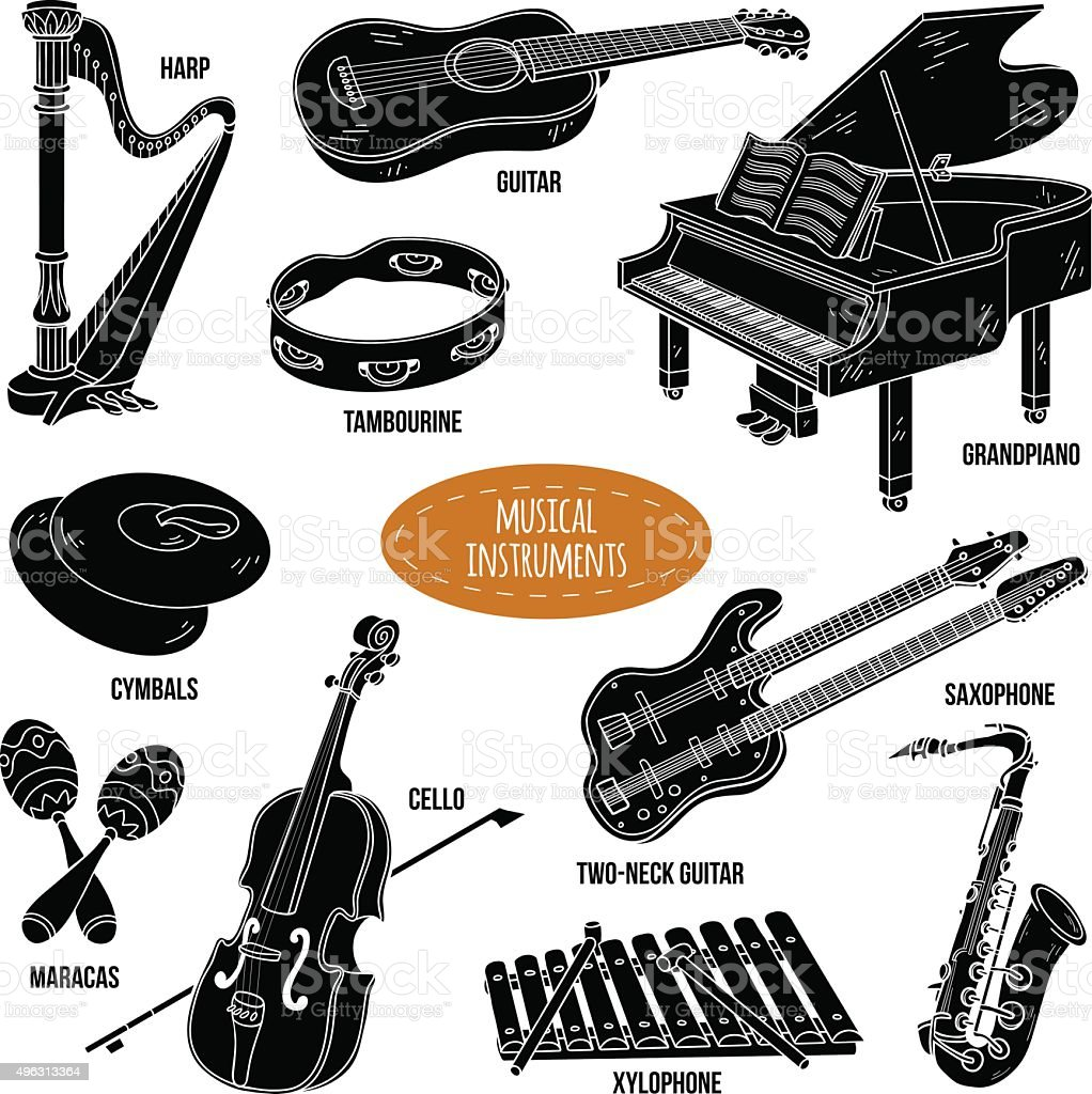 Shadow set with musical instruments, vector cartoon collection vector art illustration