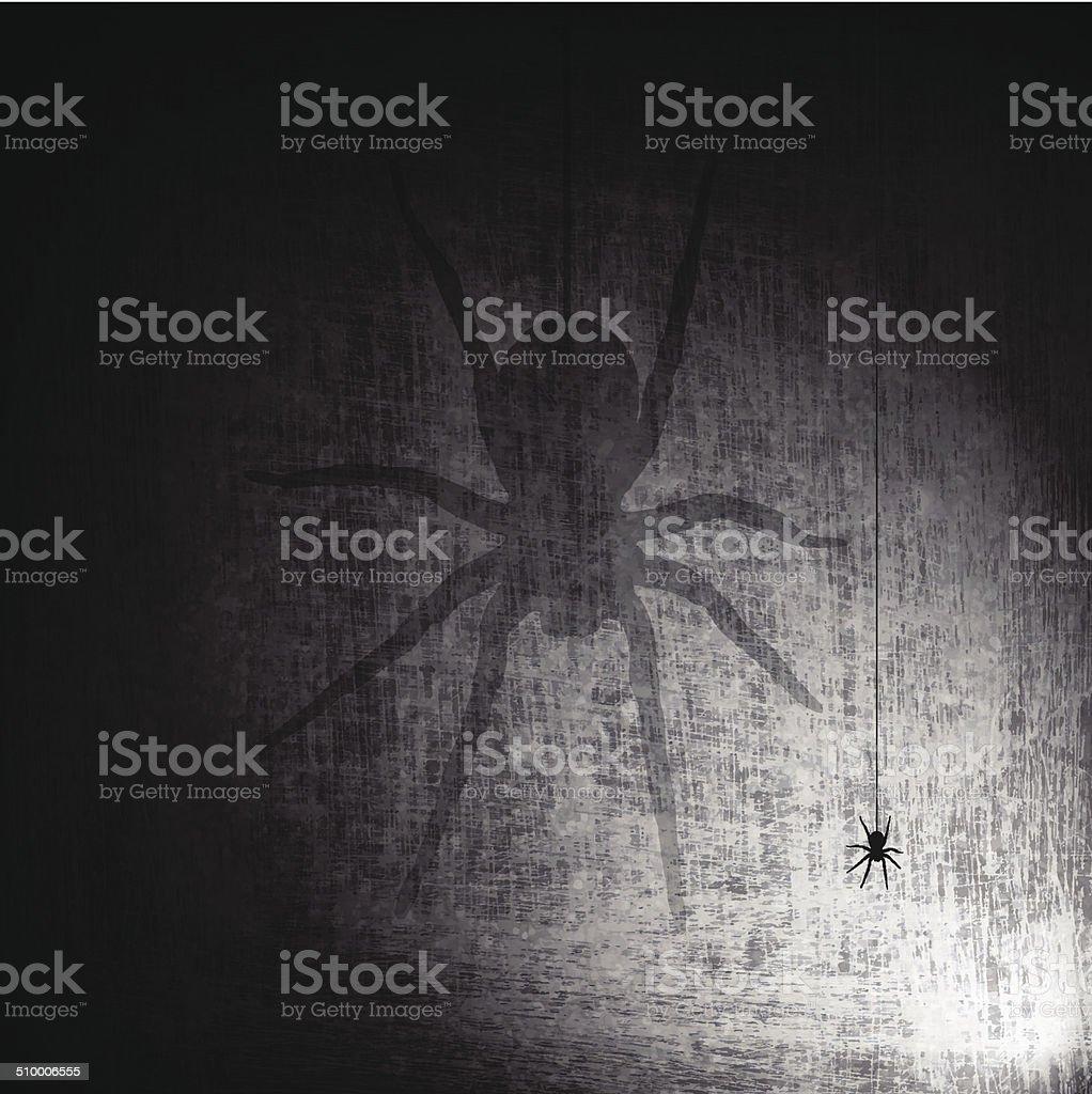 Shadow Spider on Grunge Background vector art illustration