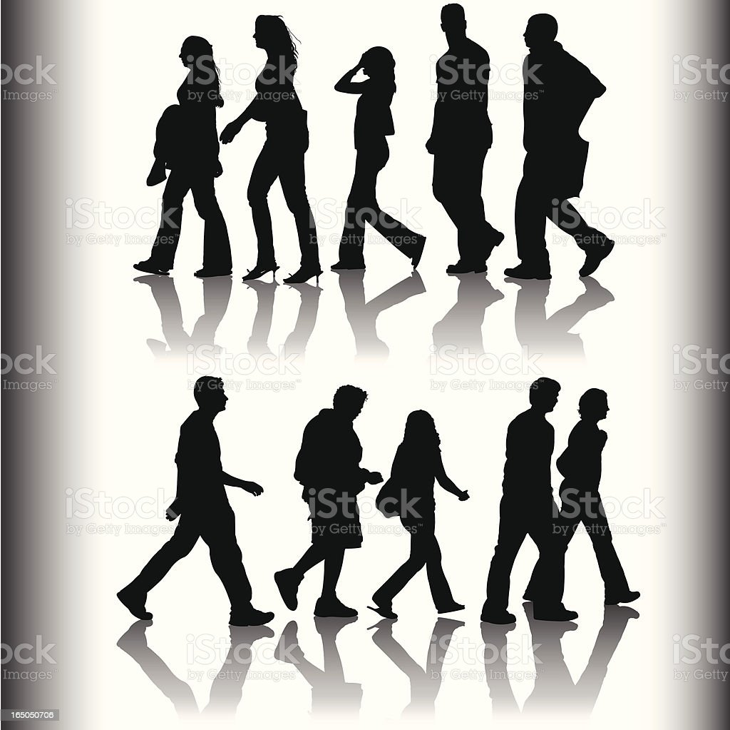 Shadows of family and friends walking royalty-free stock vector art