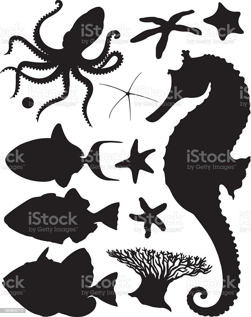 Shadows of the sea / Silhouettes de la mer vector art illustration