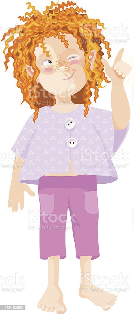 shaggy red-haired boy in short pants stock photo
