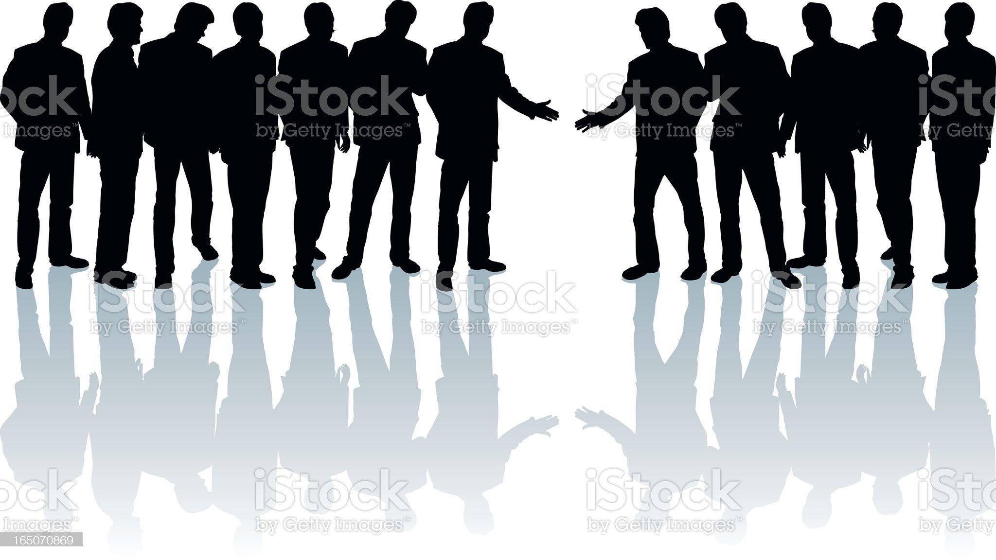 Shake hands (group) royalty-free stock vector art