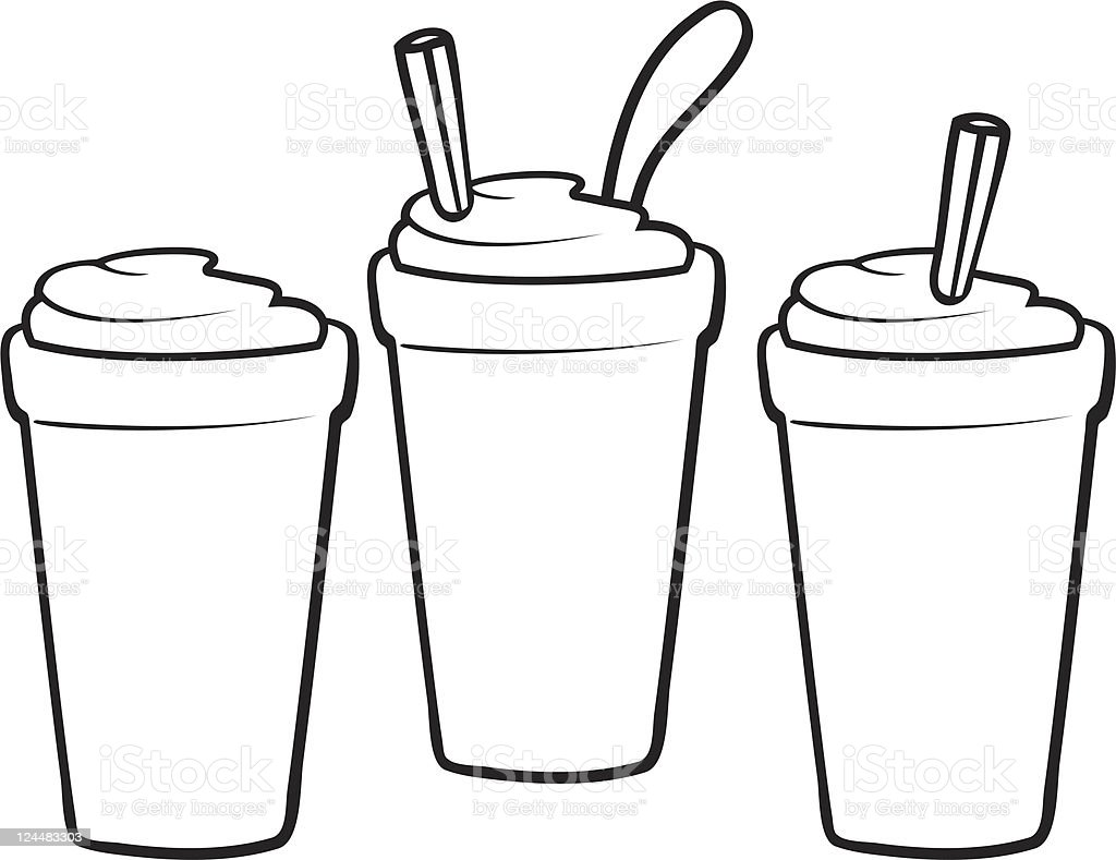 Shakes and Smoothies Line Art vector art illustration