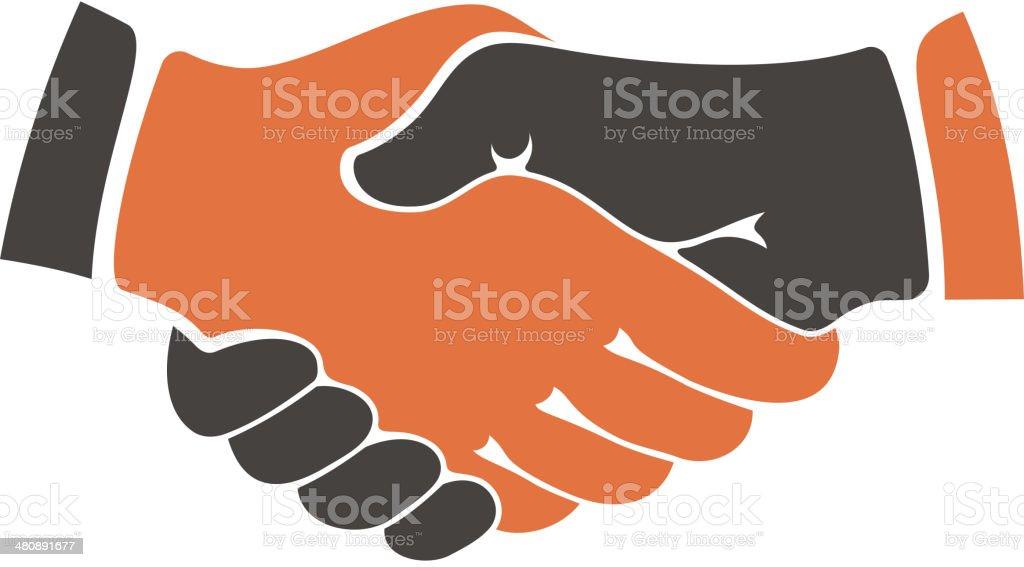 Shaking hands between cultural communities royalty-free stock vector art
