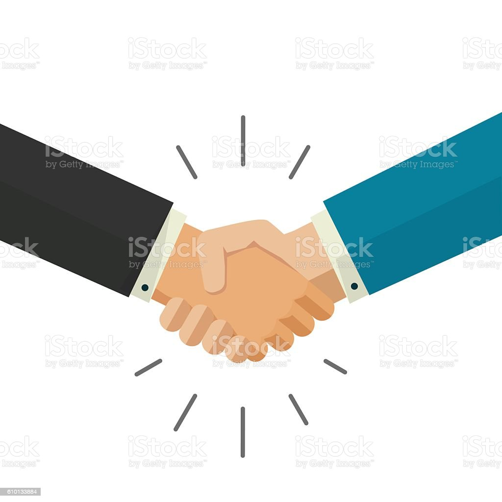 Shaking hands business vector illustration isolated on white background vector art illustration