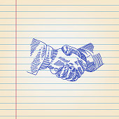 Shaking hands Drawing on Ruled paper
