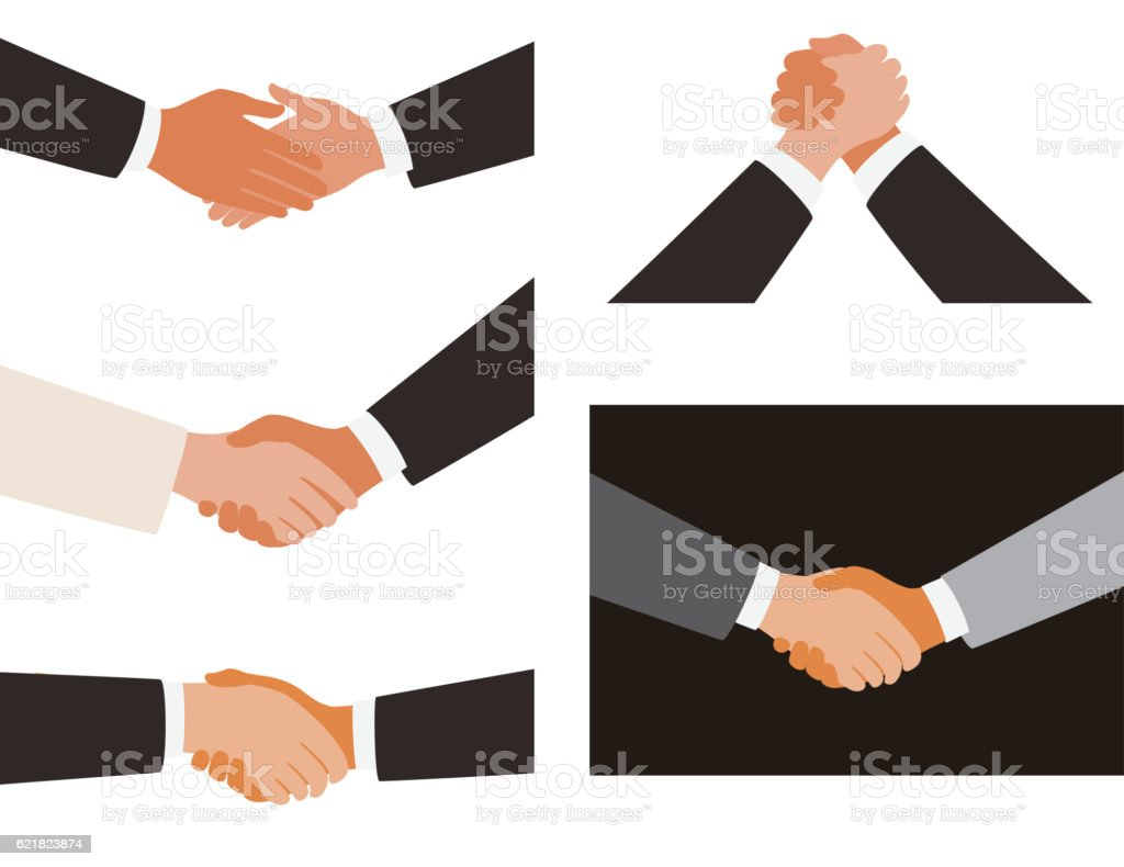 shaking hands, white and black background vector art illustration