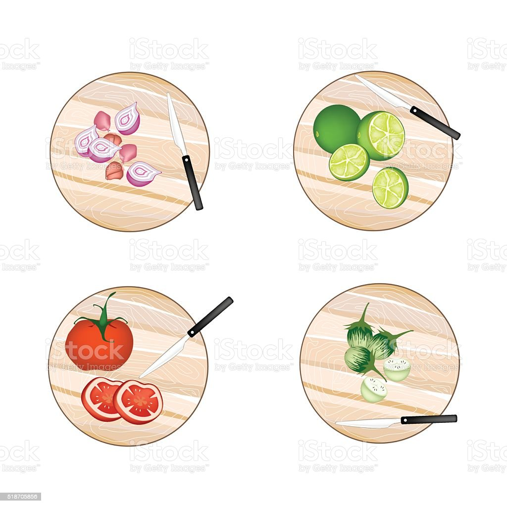 Shallot Onions, Limes, Tomatoes and Green Eggplant vector art illustration