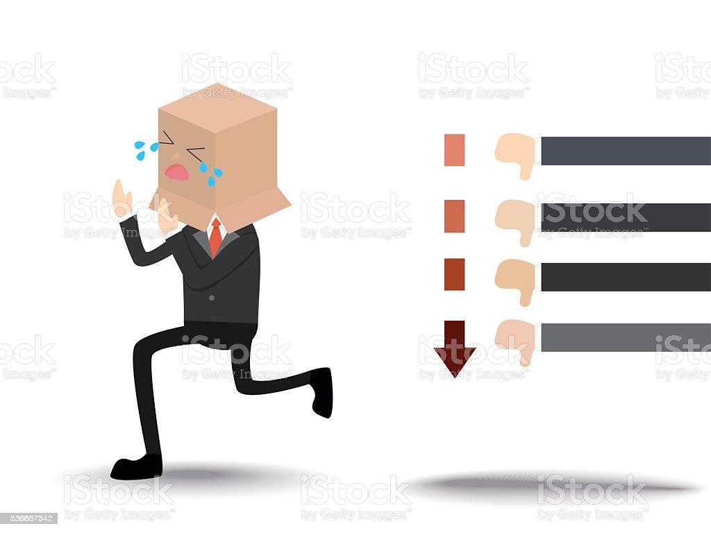 shame businessman run away from negative feedback vector art illustration