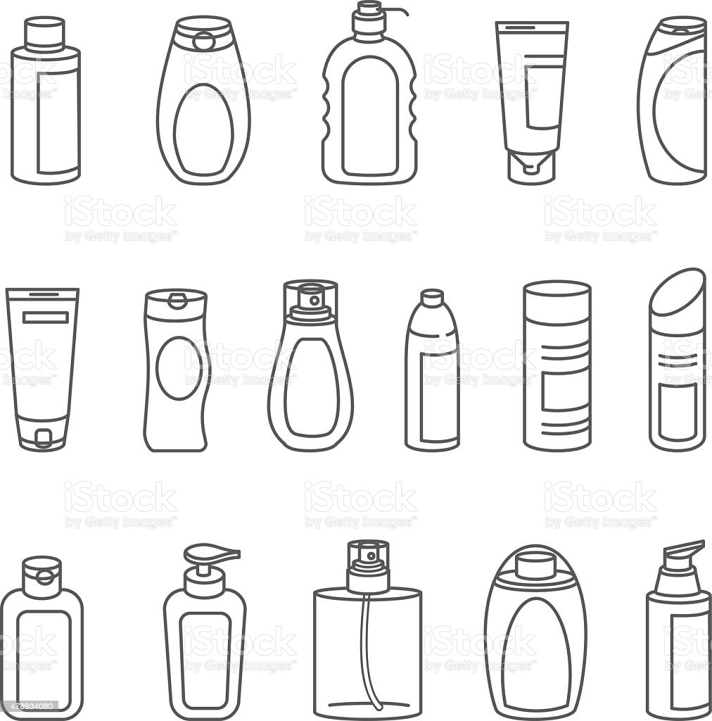 Shampoo and Bath Lotion Bottles. Set of Outline Icons. vector art illustration