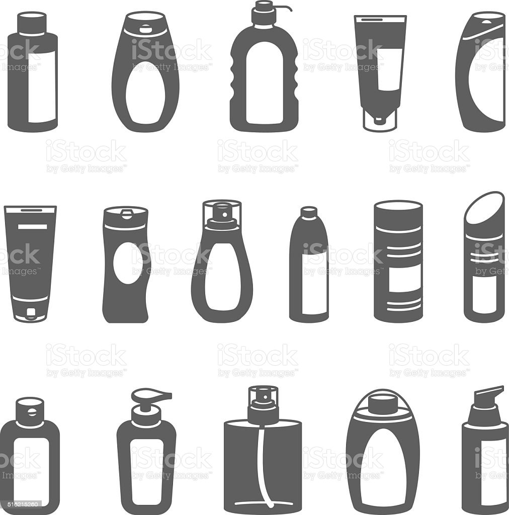 Shampoo and Bath Lotion Bottles. Set of Outline Icons. vector art illustration