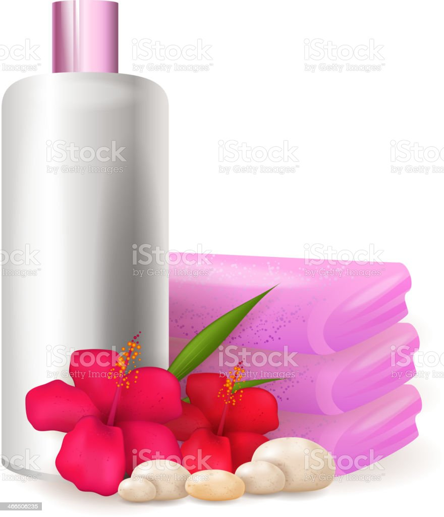 Shampoo bottle with hibiscus flowers royalty-free stock vector art