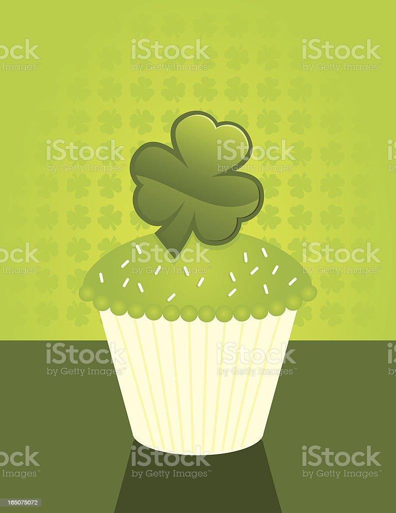 Shamrock Cupcake vector art illustration
