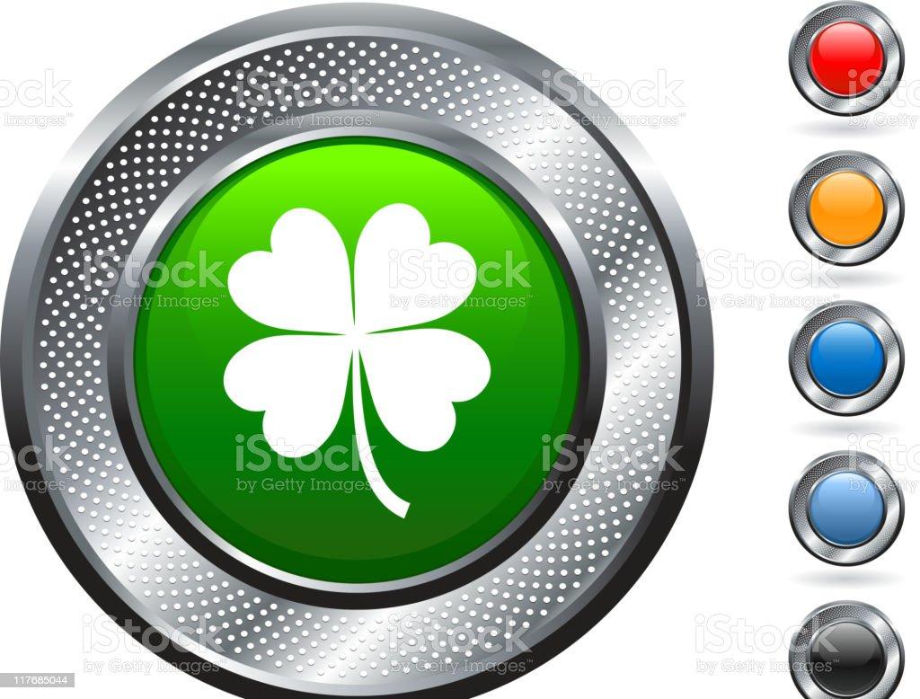 shamrock icon on button with metallic border vector art illustration