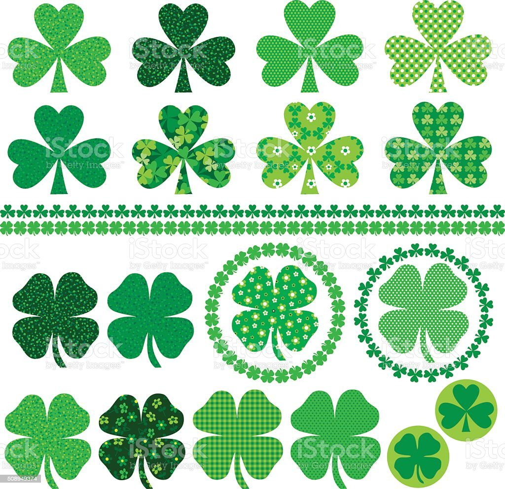 shamrock icons frames and borders vector art illustration