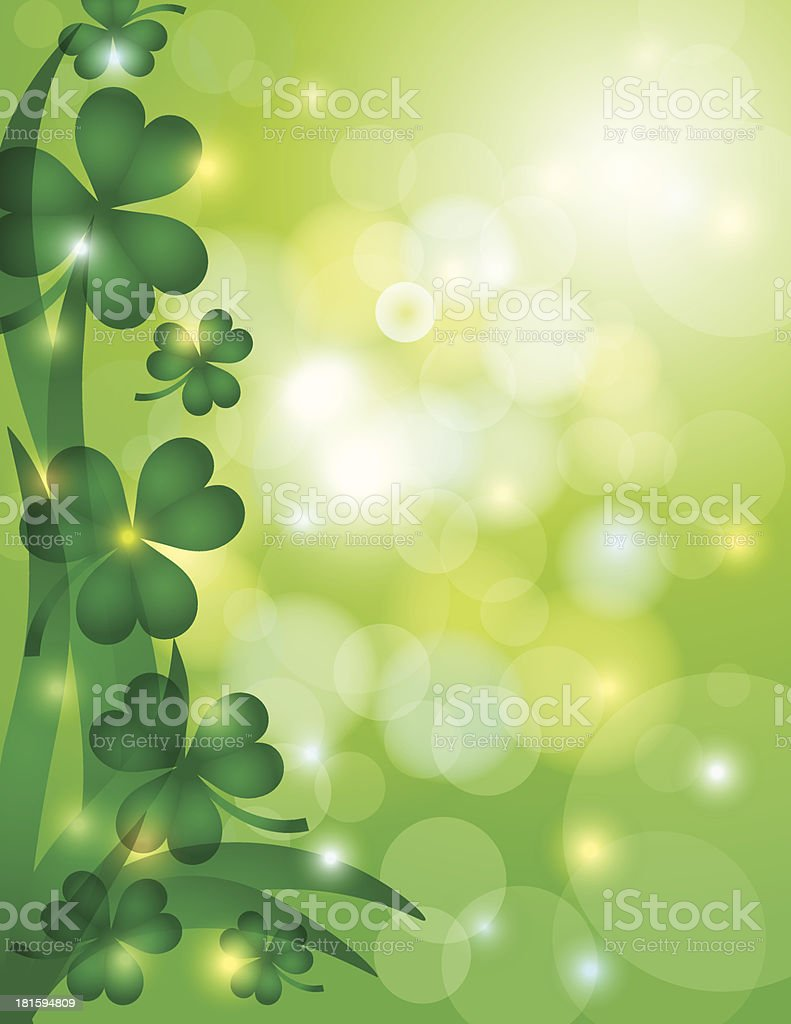 Shamrock Leaves with Bokeh Background Illustration royalty-free stock vector art