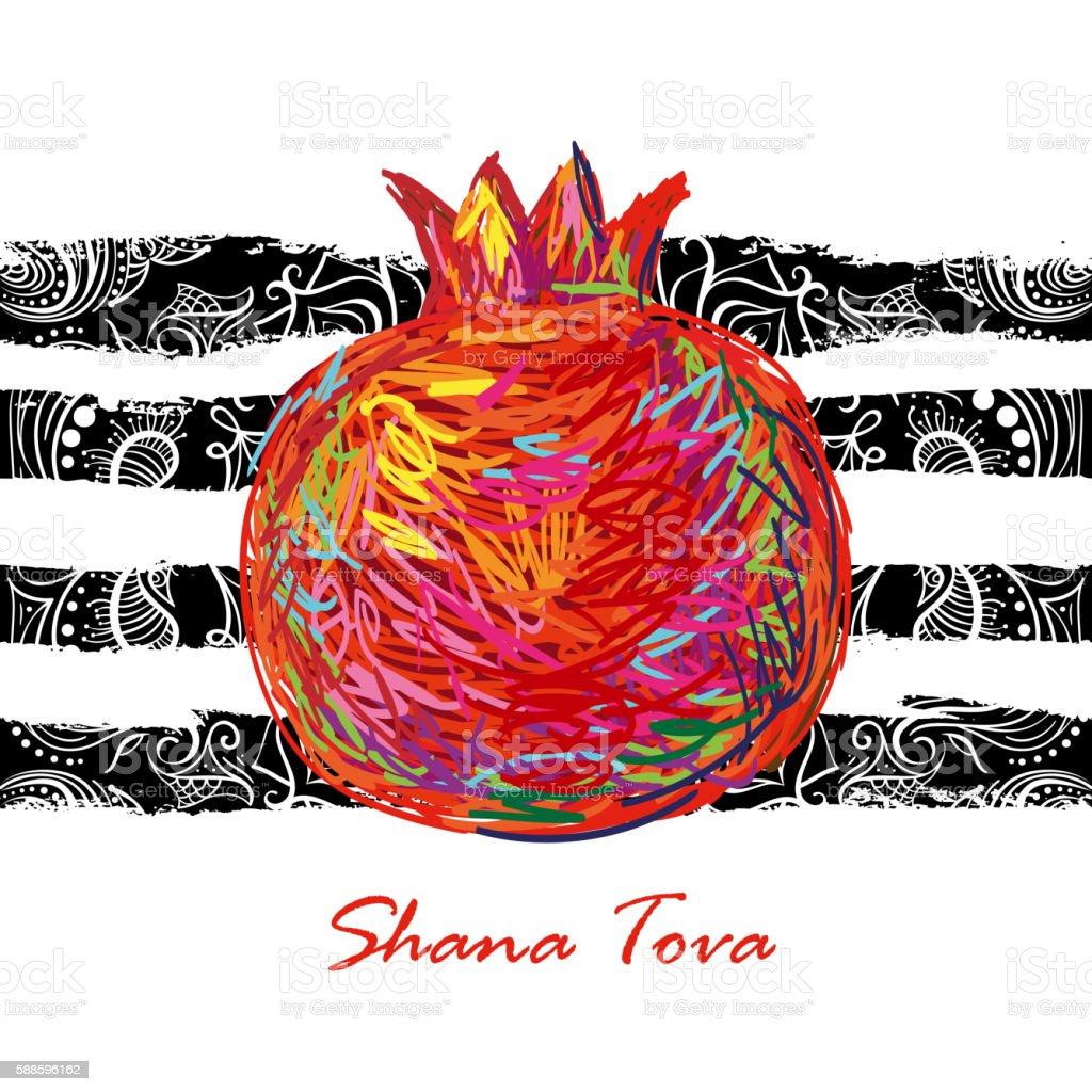 Shana Tova. Holiday celebration design vector art illustration