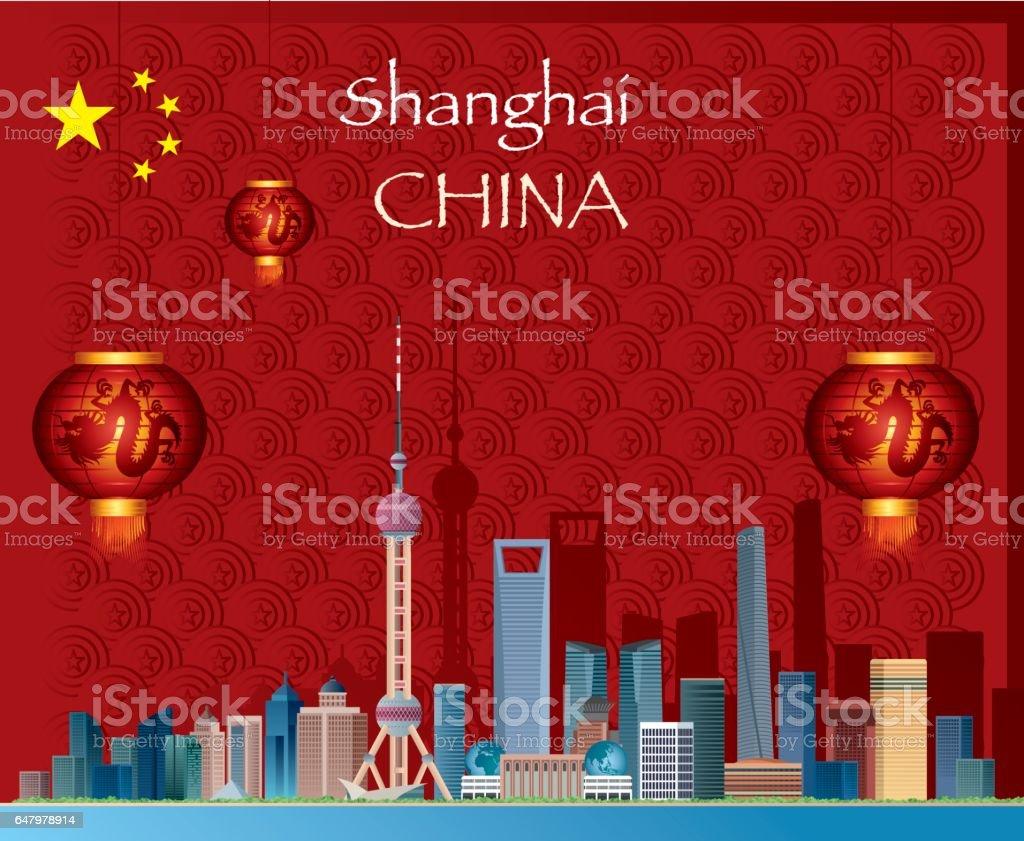 Shangai vector art illustration
