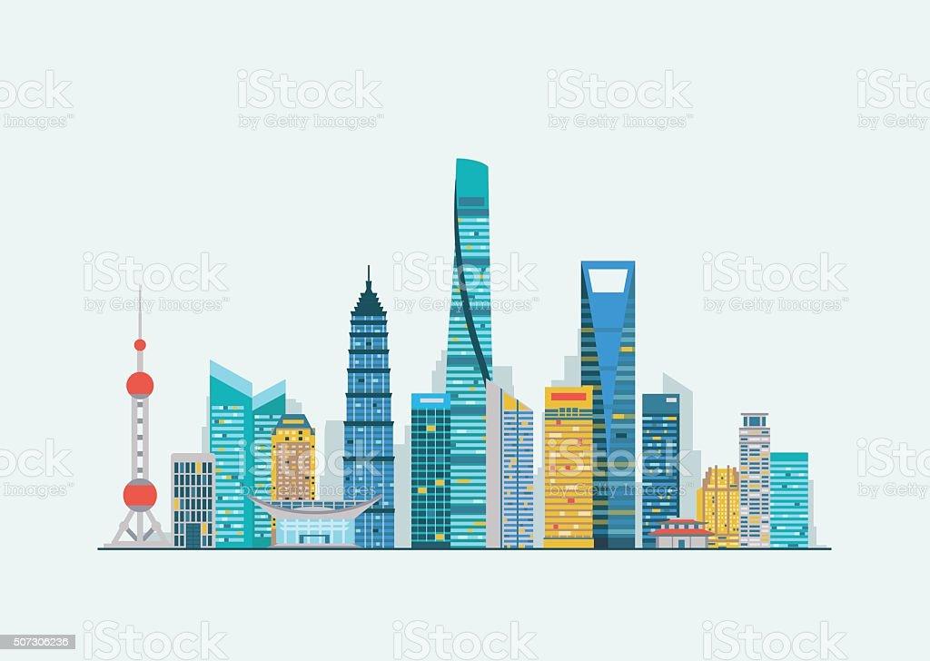 Shanghai abstract skyline vector art illustration