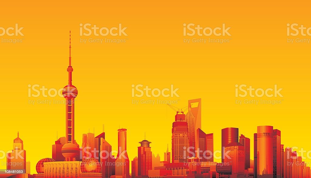 Shanghai, China vector art illustration