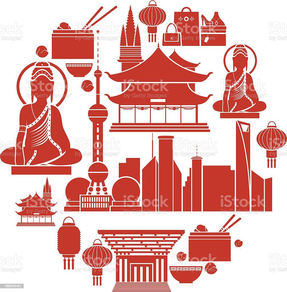 Shanghai Icon set vector art illustration