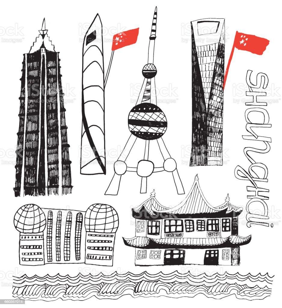 Shanghai in China hand drawn illustration vector art illustration