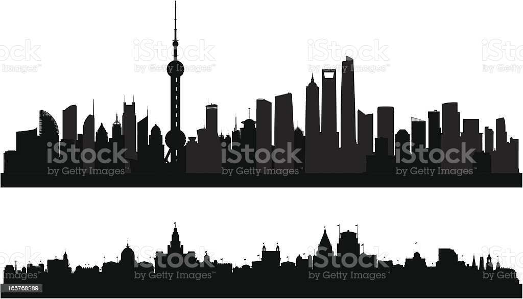 Shanghai Skylines (Buildings Are Detailed, Moveable and Complete) vector art illustration