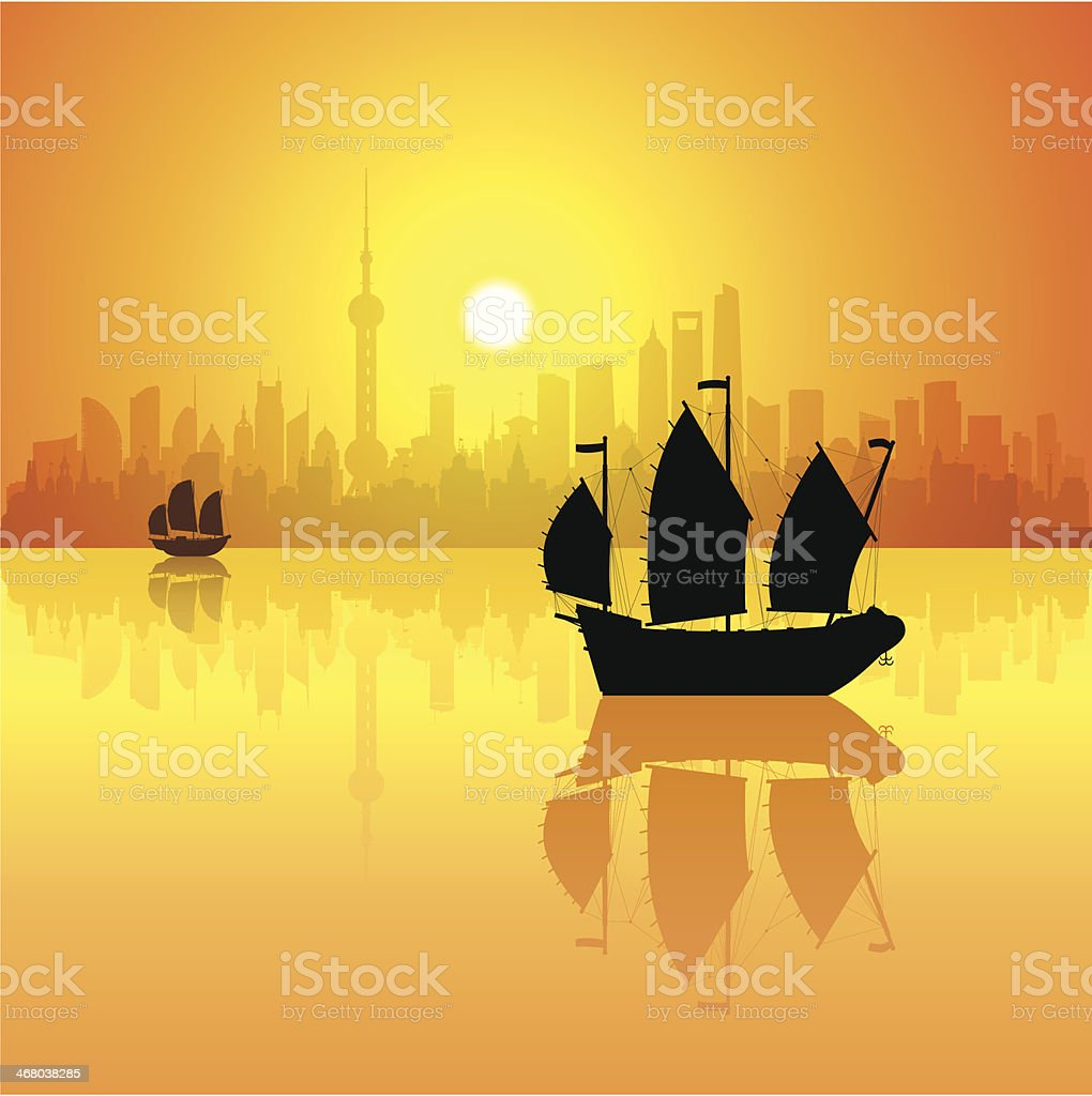 Shanghai (Each Building is Moveable and Complete) vector art illustration