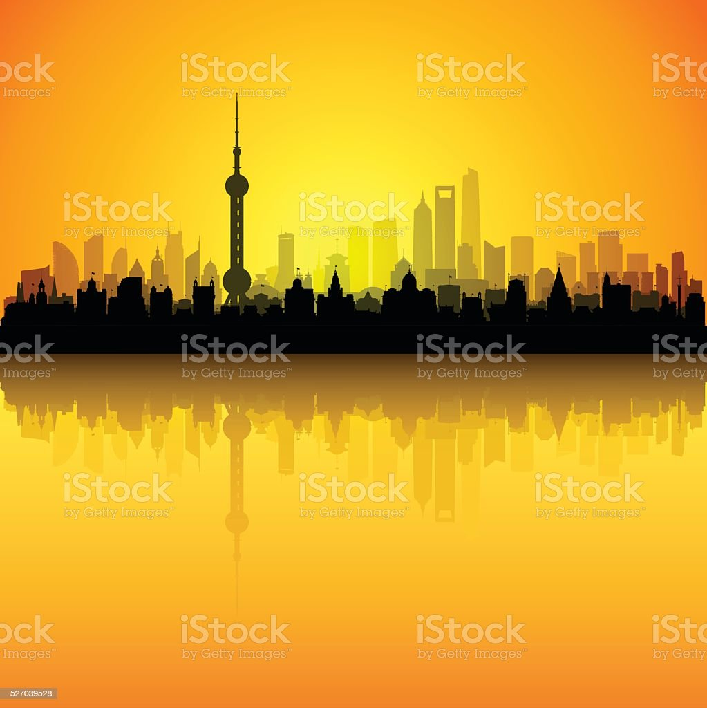 Shanghai (Each Building is Separate and Complete) vector art illustration