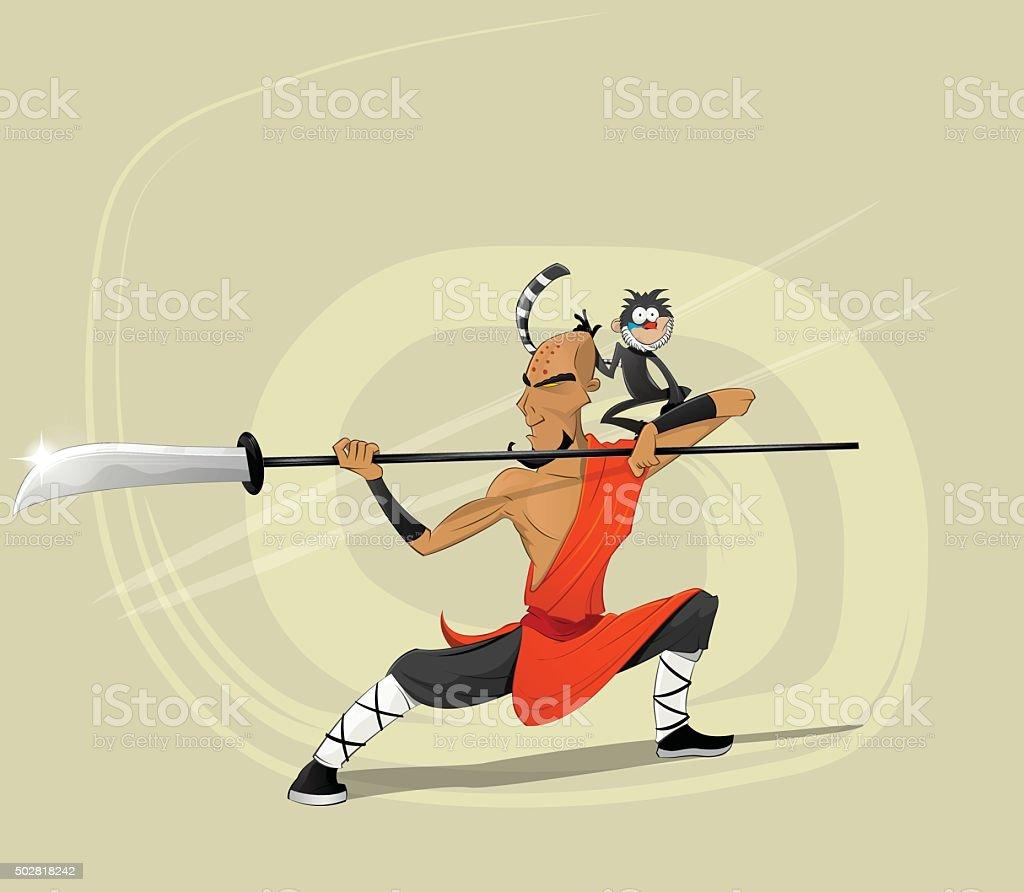 Shaolin warrior monk vector illustration vector art illustration