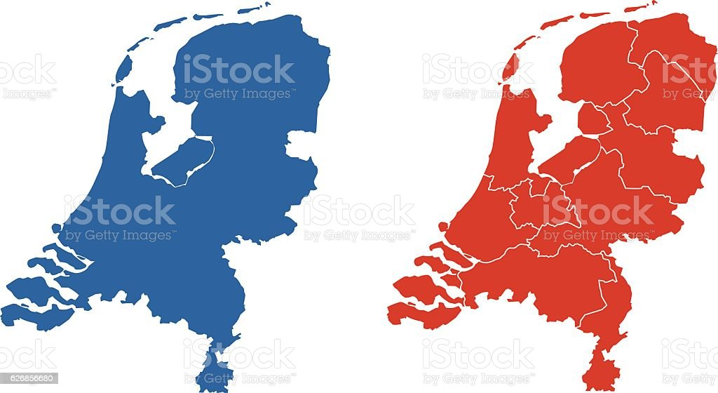 Shape and provinces of the Netherlands vector art illustration