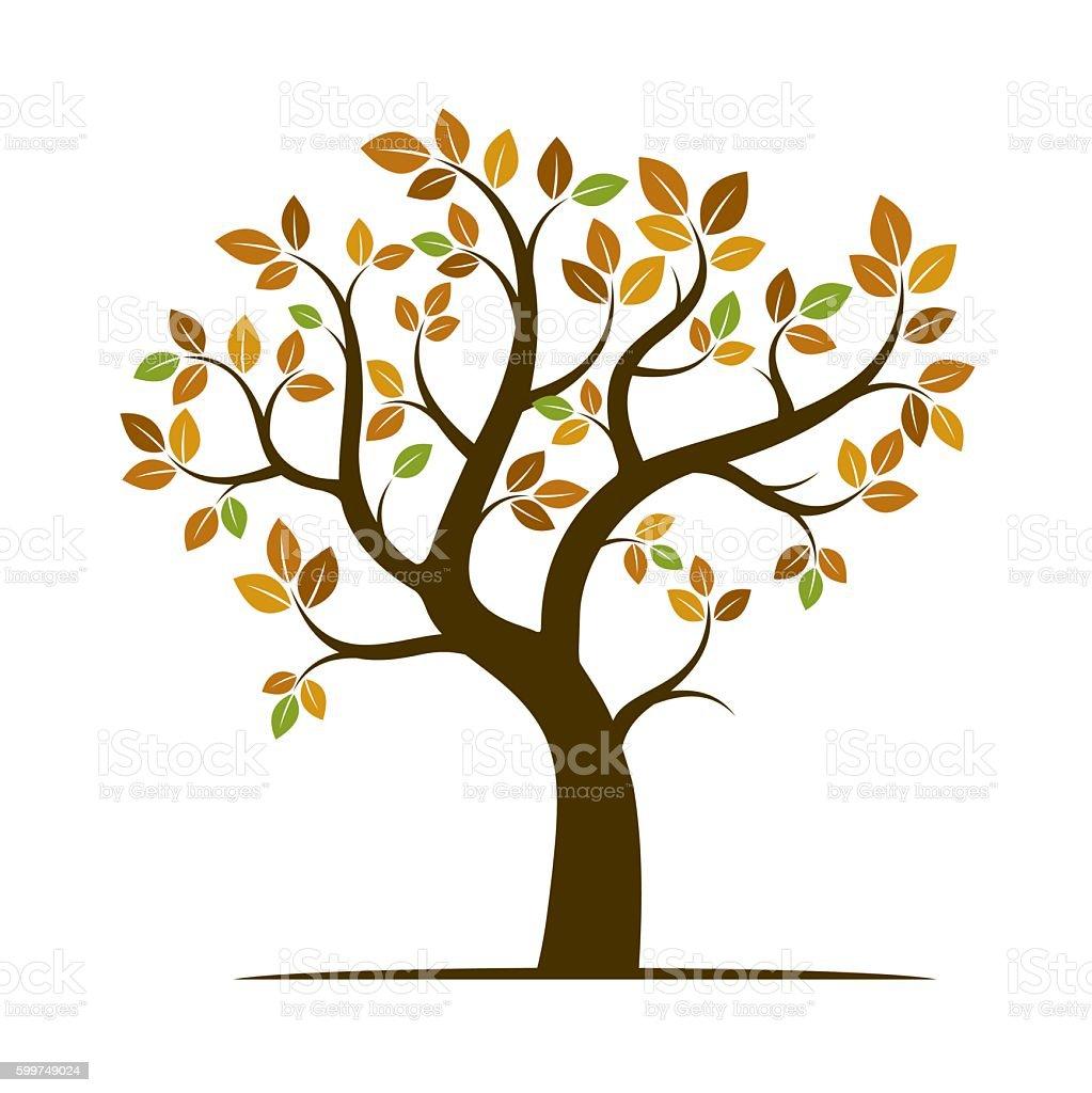 Shape of Autumn Tree. Vector Illustration. vector art illustration