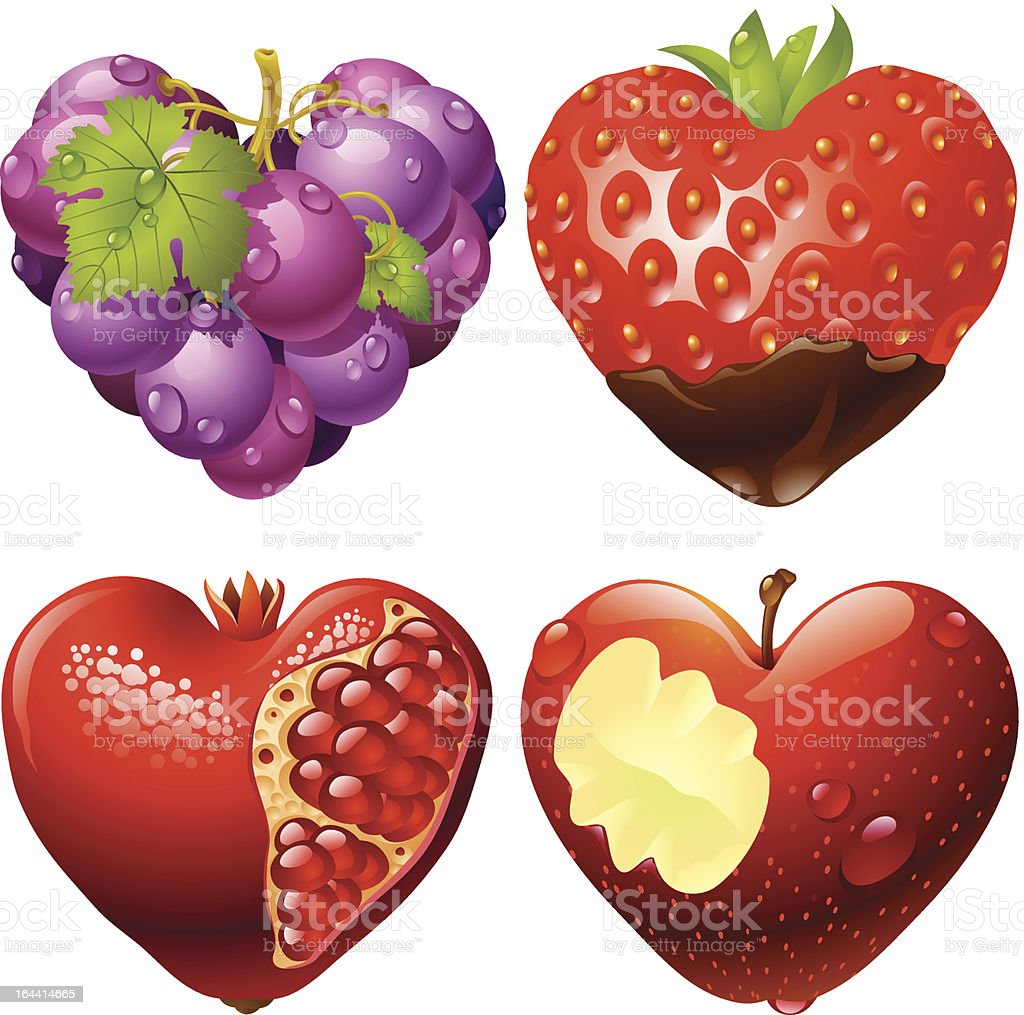 Shape of heart set 2. Strawberry, grapes, pomegranate and apple royalty-free stock vector art