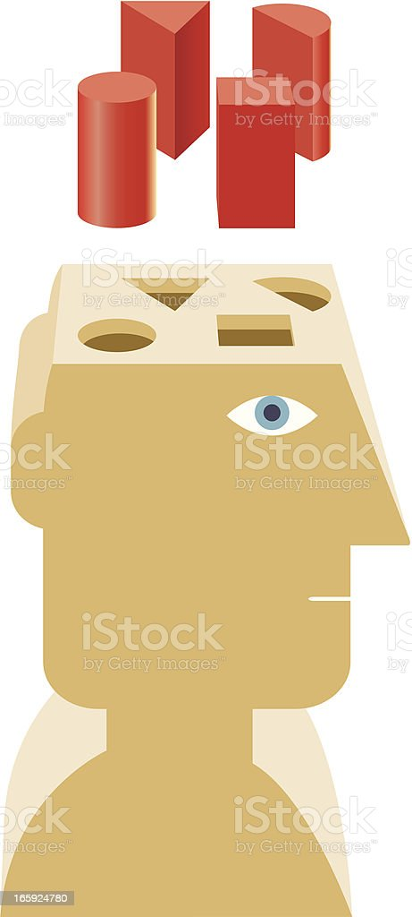 Shape sorter head illustration royalty-free stock vector art