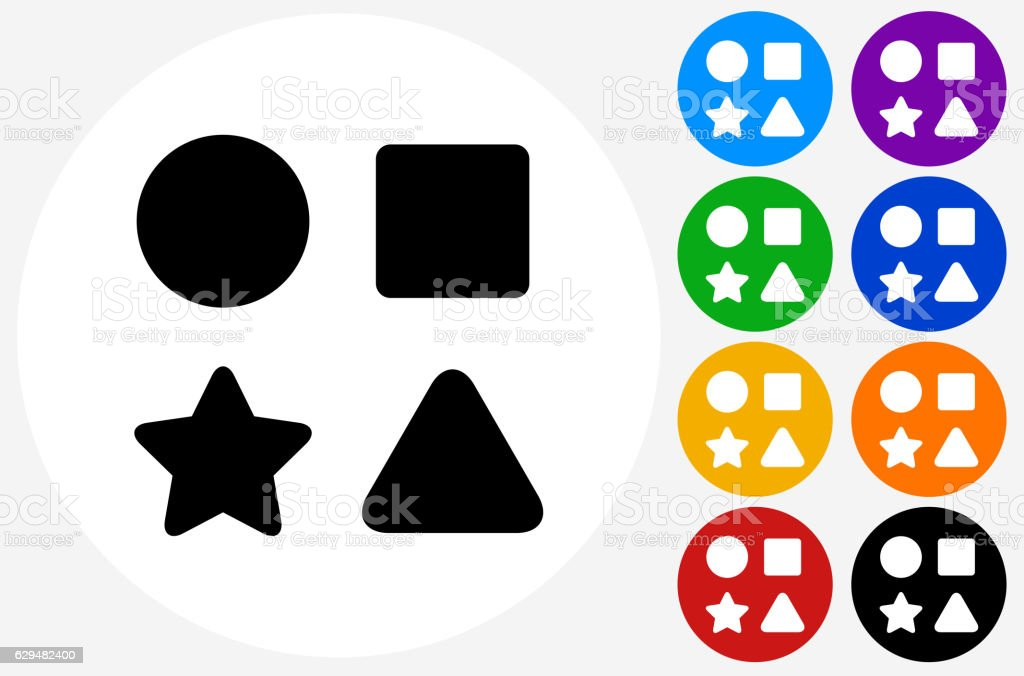 shape toys icon on flat color circle buttons のイラスト素材