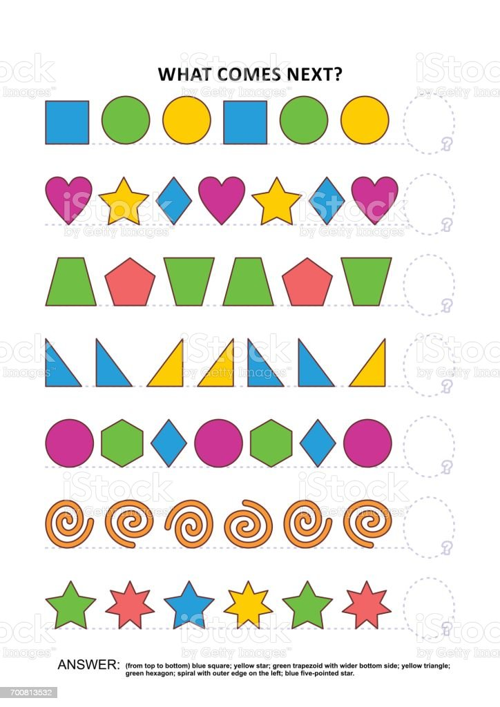 Shapes and colors educational logic game - sequential pattern recognition vector art illustration