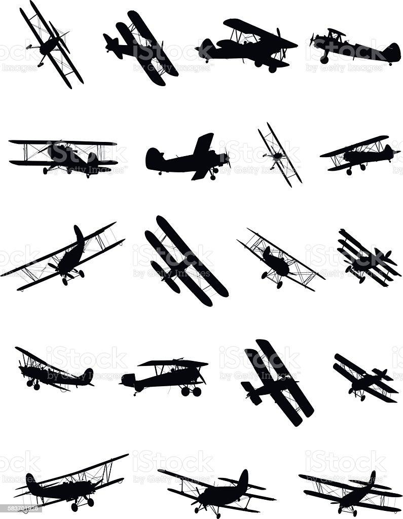 Shapes of biplanes vector art illustration