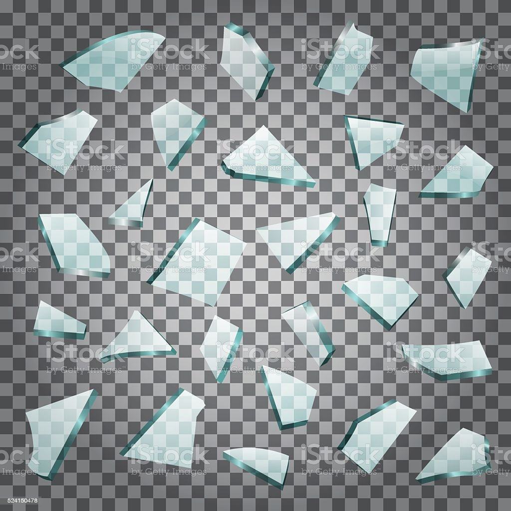 Shards of the broken glass with transparency vector art illustration