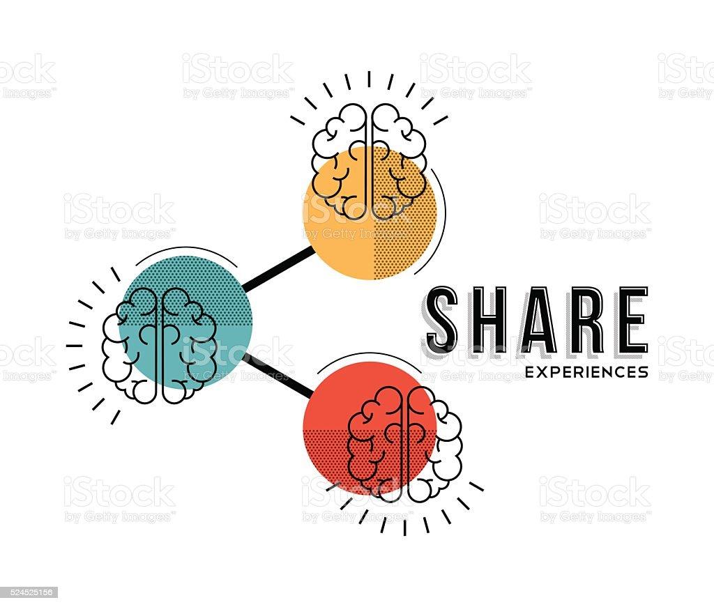 Share experiences line art concept illustration vector art illustration