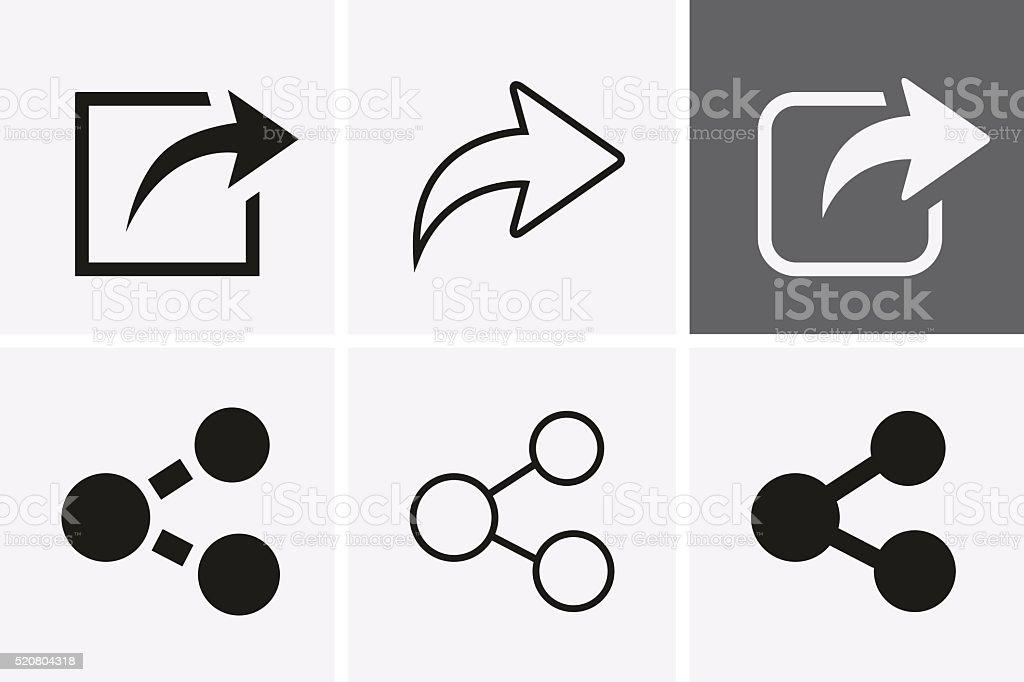 Share Icons. vector art illustration