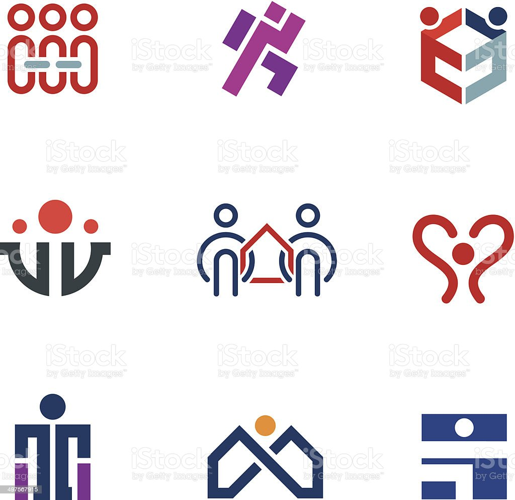 Share people community help for rebuilding society logo icon set vector art illustration