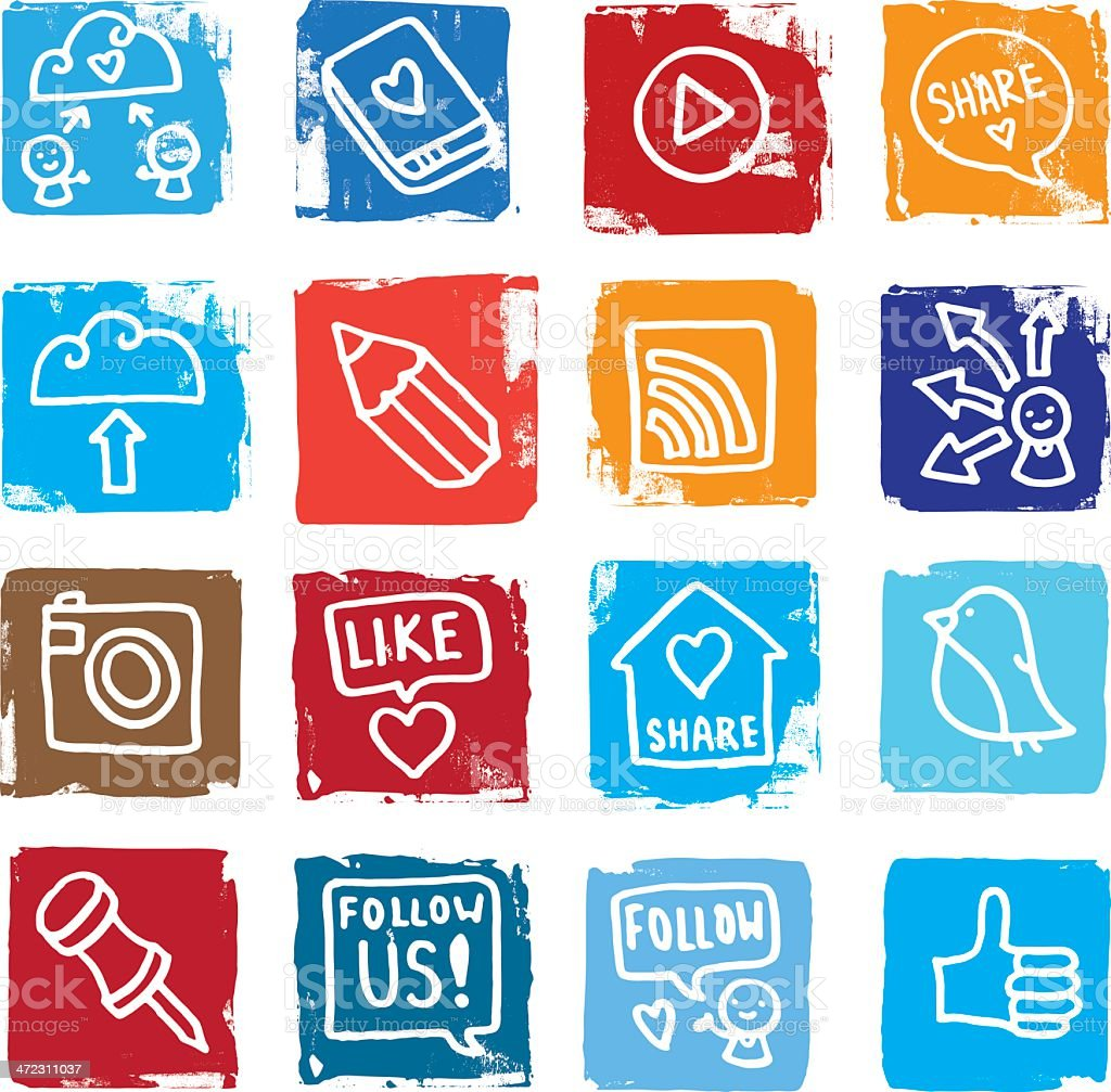 Sharing and social media grunge block icon set vector art illustration