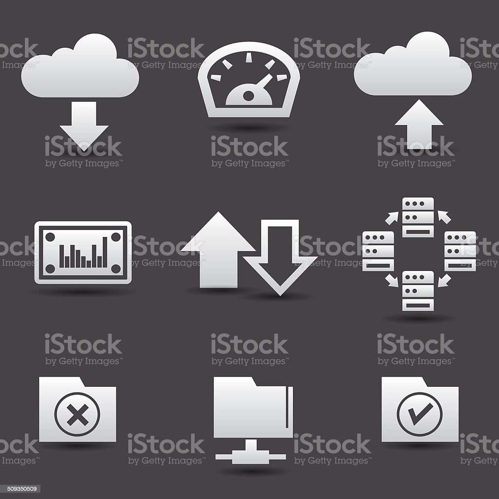 Sharing computer and data store icons,vector vector art illustration