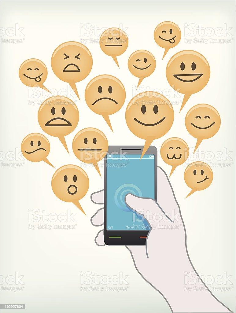 sharing emotion on mobile vector art illustration