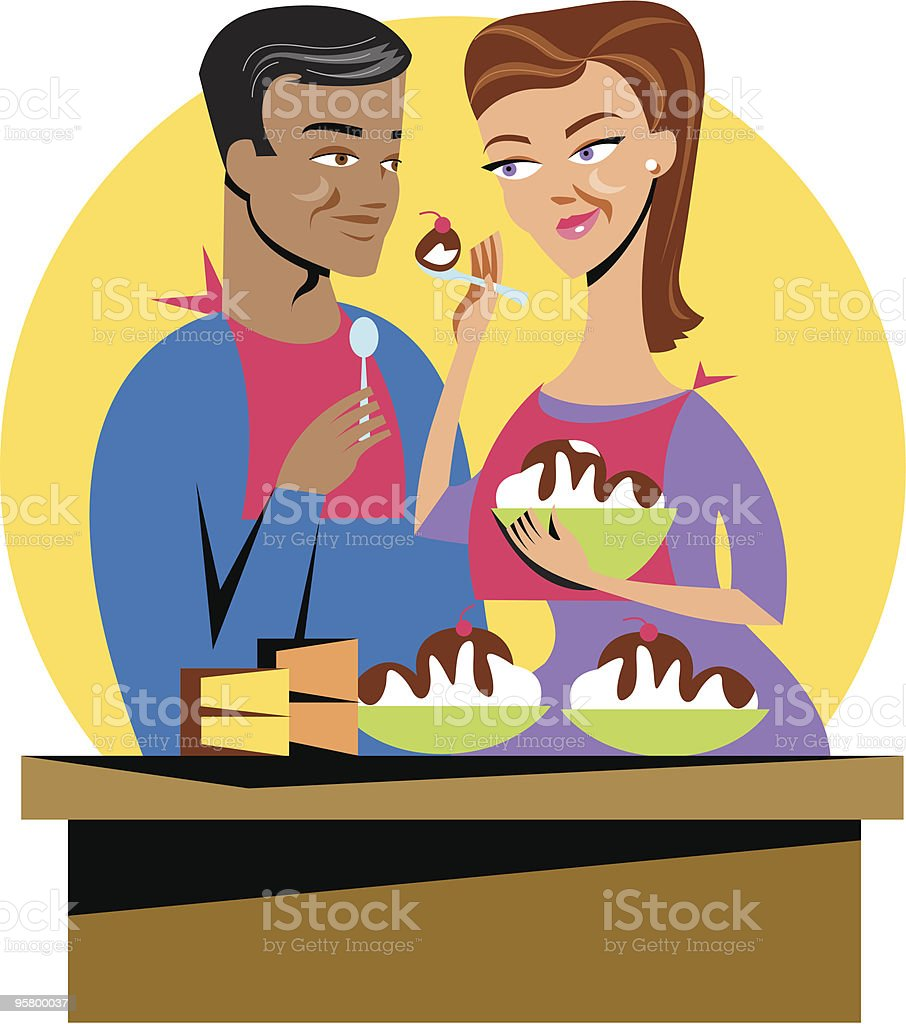 Sharing Ice Cream vector art illustration