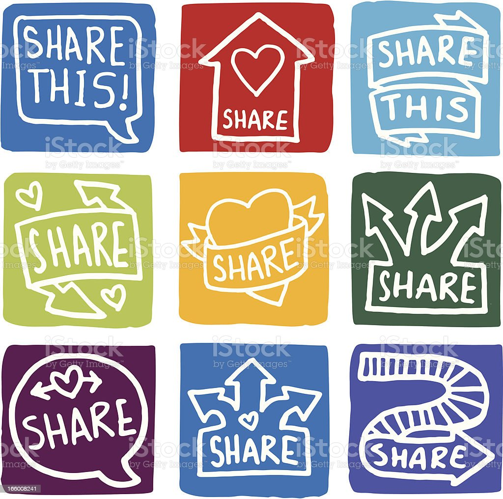 Sharing icons block icon set royalty-free stock vector art