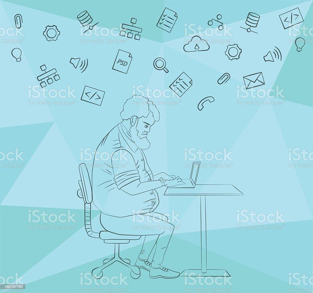 Partage de travail des fichiers et de documents de référence stock vecteur libres de droits libre de droits