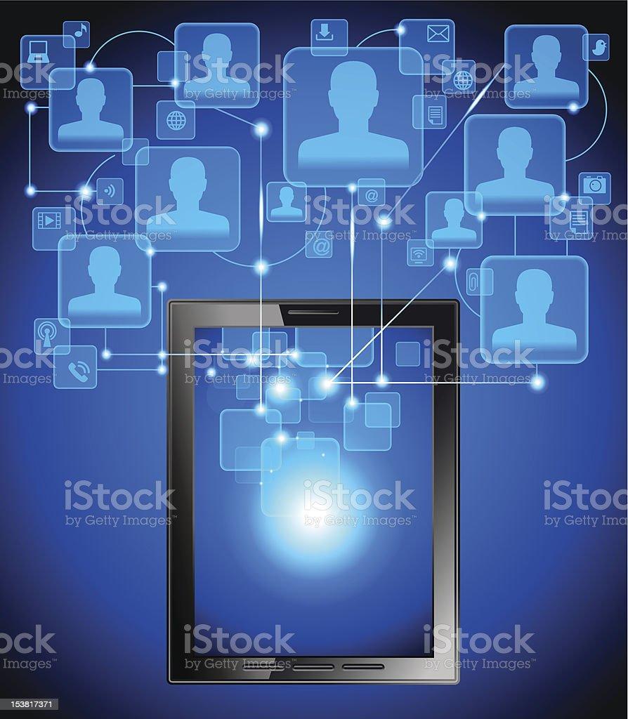 sharing  tablet royalty-free stock vector art