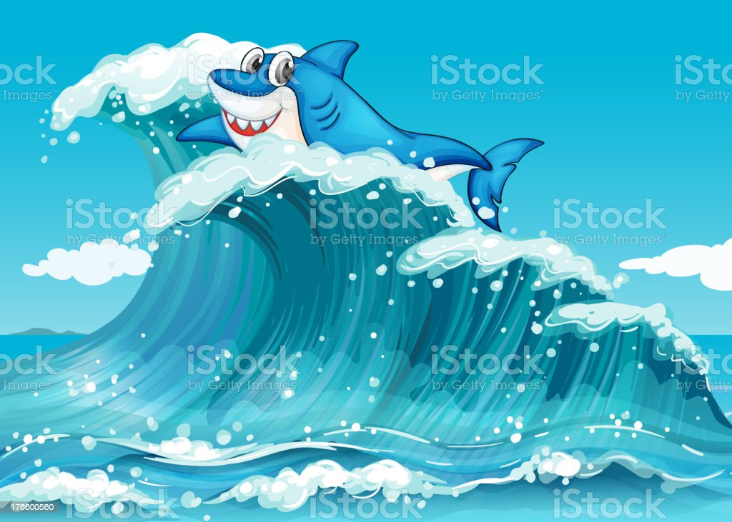Shark above the big waves royalty-free stock vector art