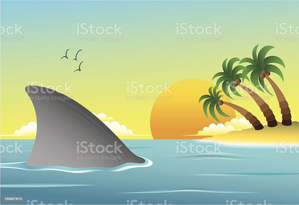 Shark And Beach royalty-free stock vector art